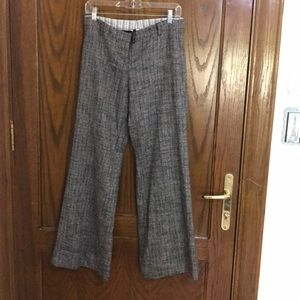Poleci Wide Leg Tweed Wool Trousers